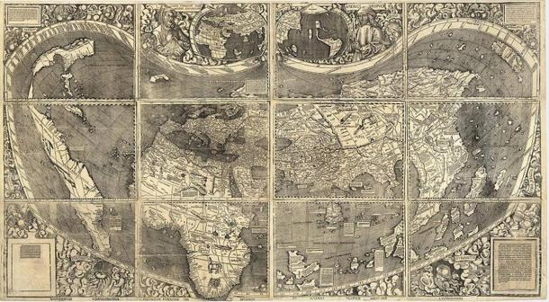 World Map Universalis Cosmographia, 1507; by German Cartographer Martin Waldseemüller
