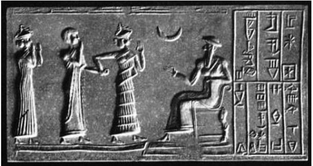 """Worship of the Moon God. Cylinder-seal of Khashkhamer, patesi of Ishkun-Sin (in North Babylonia), and vassal of Ur-Engur, king of Ur (c. 2400 BC)."