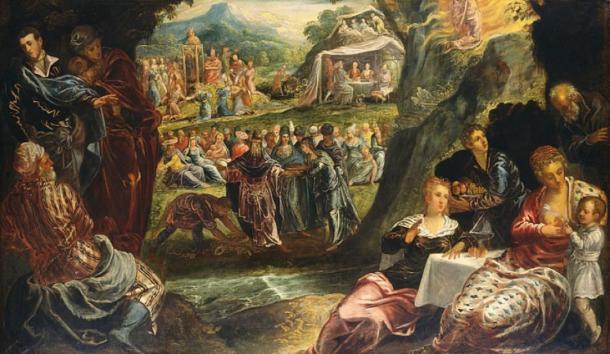'Worship of the golden calf' (circa 1560) by Jacopo Tintoretto. (Public Domain)