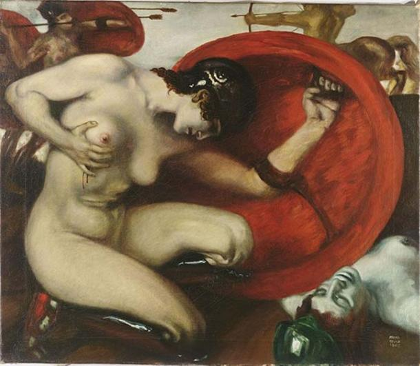 'Wounded Amazon' by Franz von Stuck, 1903.