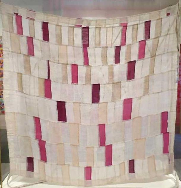Wrapping cloth (pojagi or bojagi) from Korea, 20th century, hemp, plain weave, hand-stitching, gekki (triple-stitch seam) construction, Honolulu Museum of Art.
