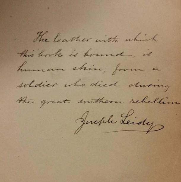 Written in a book bound with human skin. (Megan Rosenbloom / Flicker)