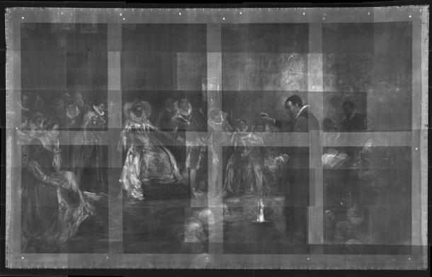 X-ray of the Glindoni painting showing skulls in a ring around John Dee.