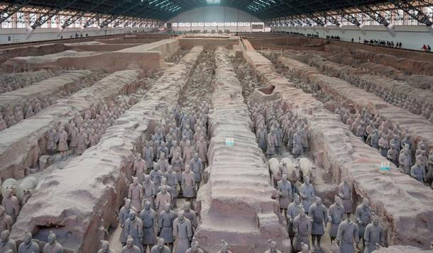 Xian, China: Pit No. 1 in the Museum of the Terracotta Army.