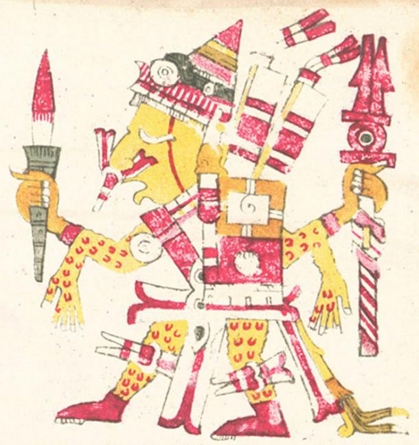 Xipe Totec as depicted in the Codex Borgia, shown holding a bloody weapon and wearing flayed human skin as a suit.