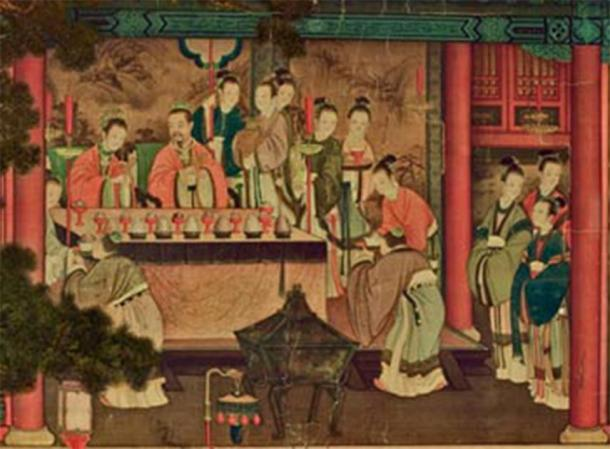 Xiwangmu, the Queen Mother of the West, visiting Emperor Wu of Han. (Ding Guanpeng / Wang Fanyue / Public domain)