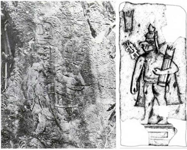 Left: Xoc Bas Relief from Chiapas. Right: Drawing of a human-bird figure from San Miguel Amuco