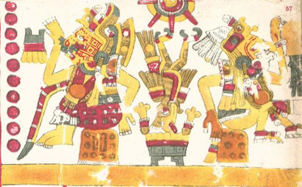 Xochiquetzal (center) and her twin brother Xochipilli described in the Codex Borgia. (Public Domain)