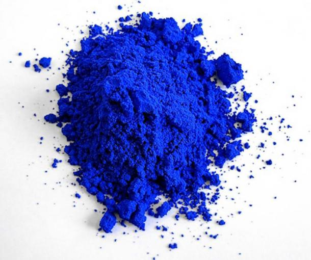 "Photograph of ""YInMn Blue"" as synthesized in 2017 by the (OSU) chemist Mas Subramanian and his team in the laboratory. (CC BY-SA 4.0)"