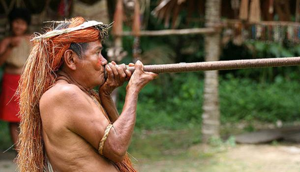 A Yagua (Yahua) tribeman demonstrating the use of blowgun (blow dart), at one of the Amazonian islands near Iquitos, Peru. (CC BY-SA 3.0)
