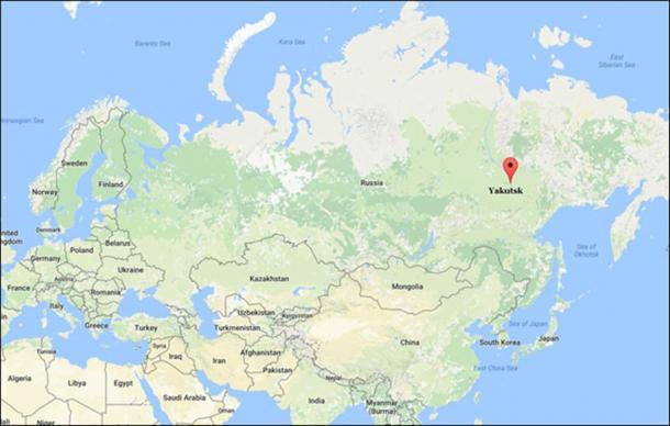 Semyon Grigoryev with Vladimir Putin, and Yakutsk marked on the world map.
