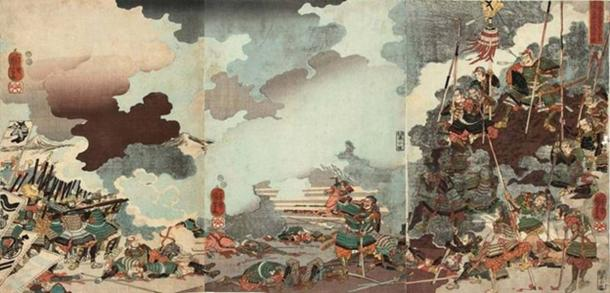 Yamamoto Kansuke and the remnant of his troops on a hillock mown down by the Uesugi musketeers at Kawanakajima on October 12, 1561