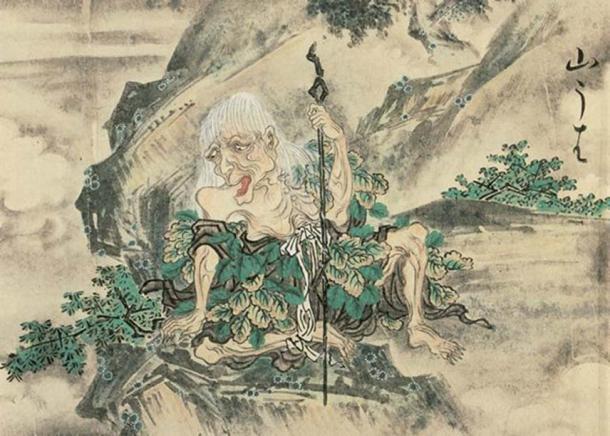 """""""Yamauba"""" from the Hyakkai Zukan by Sawaki Suushi."""