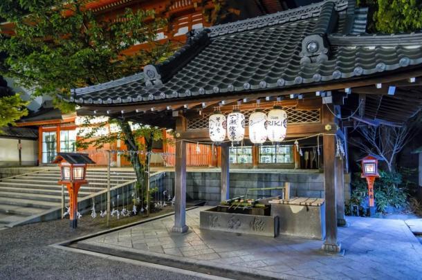Yasaka Shrine Main Gate's Purification Fountain in Kyoto, Japan