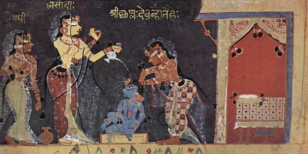Yashoda bathing the child Krishna from the Bhagavata Purana Manuscript (1500)
