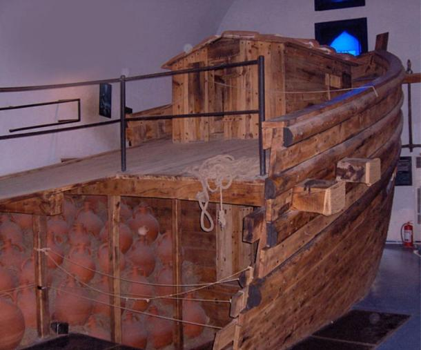 Partial reconstruction of the Yassiada shipwreck from Byzantine times (7th c.), Bodrum, Turkey