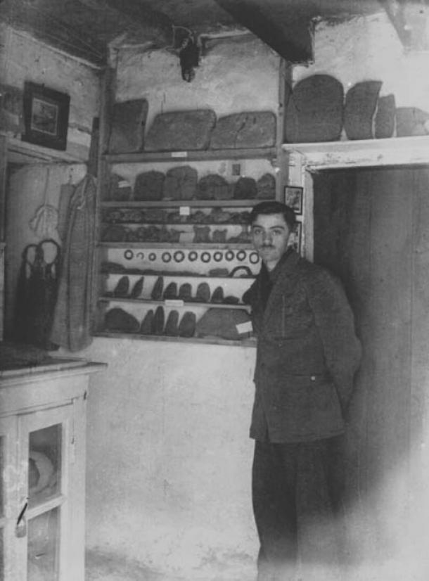 Young Emile Fradin inside his museum at Glozel. Allier, France. 1920s