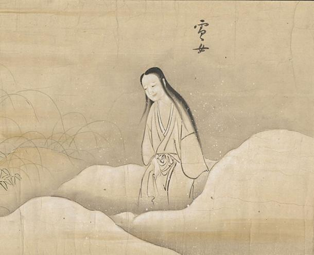 Yukionna 雪女 from Bakemono no e (化物之繪, c. 1700), Harry F. Bruning Collection of Japanese Books and Manuscripts, L. Tom Perry Special Collections, Harold B. Lee Library, Brigham Young University. (Brigham Young University/CC BY SA 4.0)