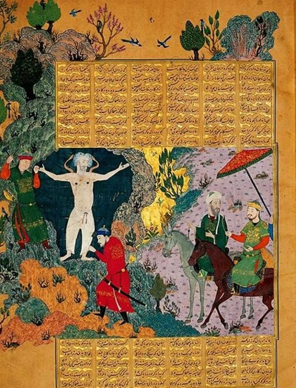 Zahhak bound on mount Damavand. Baysungur's Shahnama, 1430.