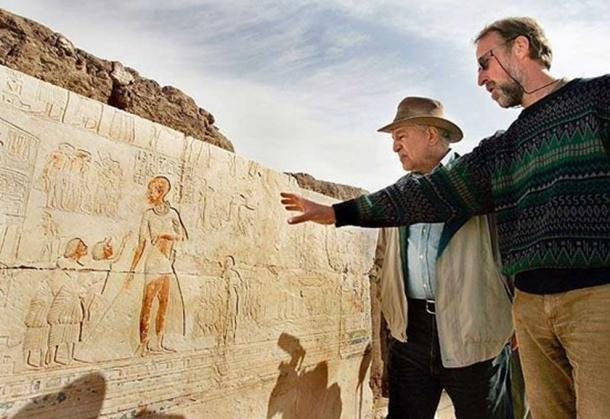 Zahi Hawass and archaeologist inspecting a depiction of a possible giant at Saqqara in 2007. Courtesy AP Photo / Ben Curtis.