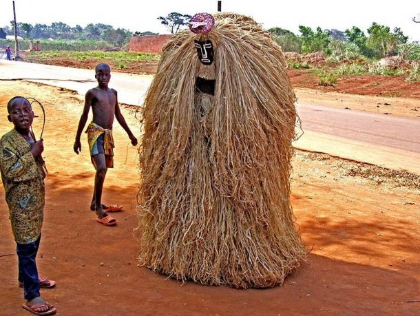 Zangbeto, a voodoo guardian of the peace under Yoruba religious belief. Zangbeto traditionally served as an informal police service to enforce the peace in rural Benin.