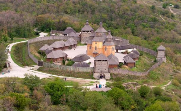 Zaporizhian Sich, (reconstructed open Museum) 16th century headquarters for the Zaporizhian Army.