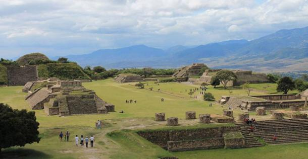 Panoramic of the Zapotec ruins of Monte Alban, Oaxaca, Mexico.