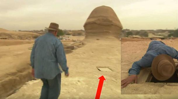 Zawi Hawass examining a chamber at the rear of the sphinx
