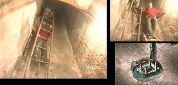 Zawi Hawass слиза надолу по шахта към камера, пълна с вода, която съдържа голям саркофаг.  Кредит: Fox