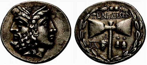 Zeus and Hera on a coin with Zeus' symbol the double ax in the reverse