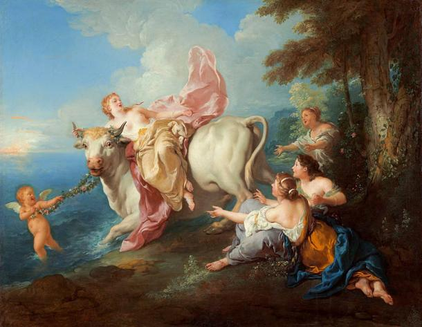 Zeus changes into a bull and steals away Europa.
