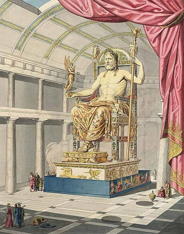 Zeus in Olympia. Phidias' statue in gold and ivory in Olympia's main temple.
