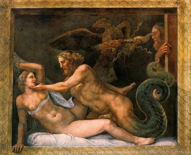 Zeus seduce Olimpia, Giulio Romano, 1526 Palazzo del Te, Mantua, Italia