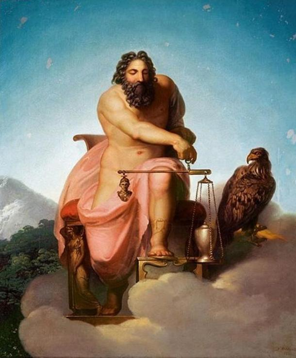 Zeus weighing the fate of man by Nicolai Abraham Abildgaard, 1793
