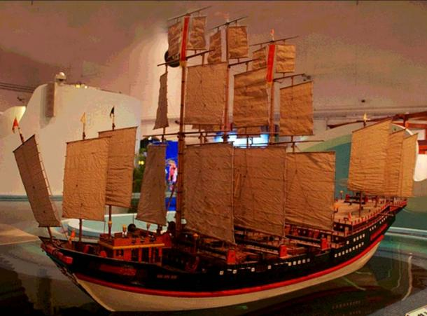Zheng He's Treasure Ship. Model at Hong Kong Science Museum.