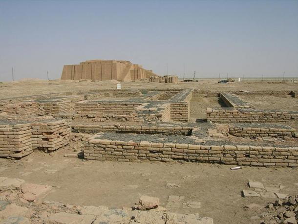 A modern reconstruction of the Ziggurat of Ur (background) looms over the ruins of the Giparu, the temple complex where Enheduanna lived.