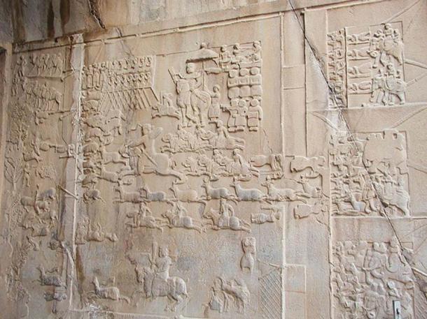 Taq-e Bostan, a low-relief depicting a stag hunt of King Khusrau II