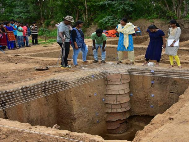 A ring well found at the dig site. (M Suganth)