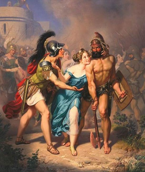 Some depictions of the abduction event depict the Sabine women as being willing participants. 'The Rape of the Sabines: The Invasion' by Charles Christian Nahl
