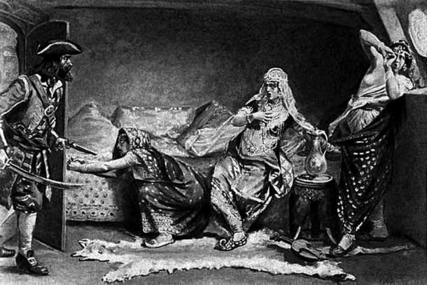 Some accounts claim that the pirate raped a relative of the Indian emperor Aurangzeb who he discovered on board. (Public domain)