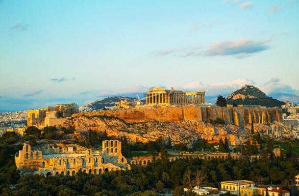 The Acropolis in Athens, Greece, featuring the Parthenon.