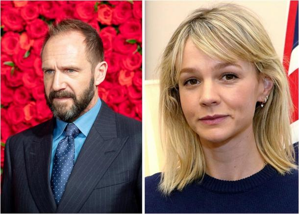 Right: Ralph Fiennes who will play Basil Brown in the Sutton Hoo movie, The Dig. (Dick Thomas Johnson / CC BY 2.0). Left: Carey Mulligan who will play Edith Pretty. (Foreign and Commonwealth Office / CC BY 2.0)