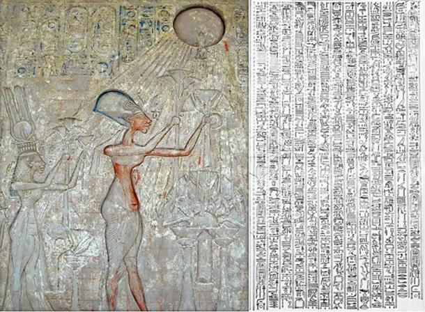 Left: Panel with adoration Scene of Aten (detail). Right: 1908 drawing of the Great Hymn to Aten.