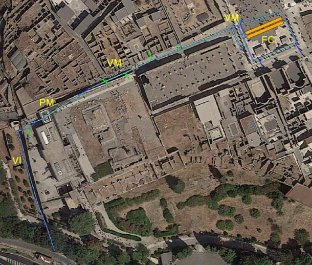 Aerial map showing ancient Pompeii's drains network with the sites (mentioned above) marked out. (Archaeological Park of Pompeii)