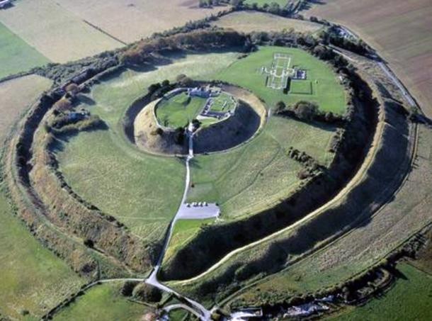 An aerial photograph of the site of Old Sarum