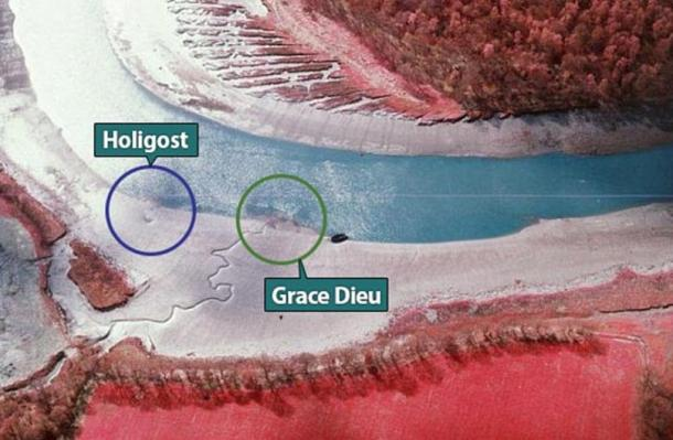 The aerial photograph showing a U-shaped outline (circled blue) on the bank of the River Hamble, located just 50 meters from Henry's flagship The Grace Dieu (circled green).