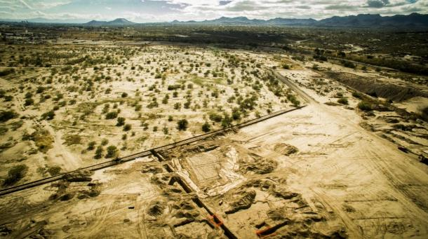 This aerial shot shows the construction site where the prehistoric footprints were discovered.