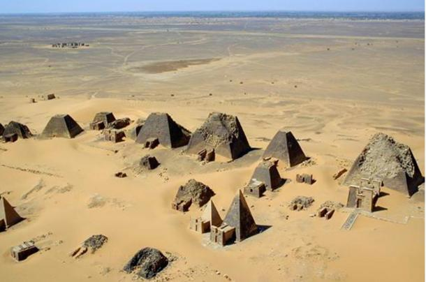 An aerial view of some of the pyramids at Meroë.