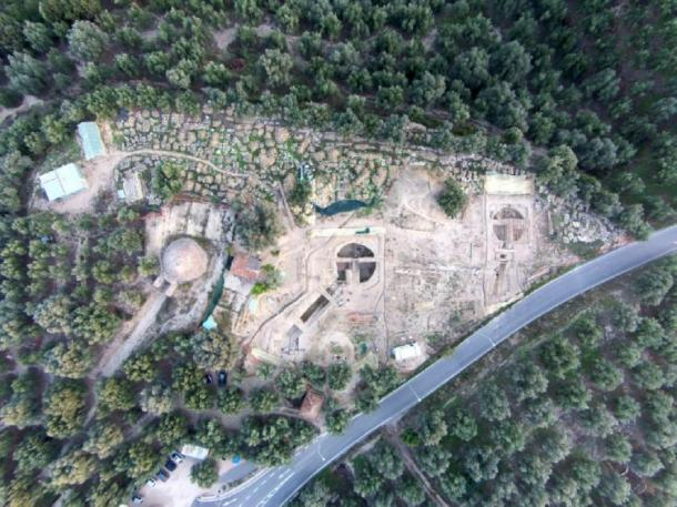 An aerial view of the site shows the Tholos IV tomb, far left, found by UC archaeologist Carl Blegen in 1939 in relation to the two family tombs called Tholos VI and Tholos VII, uncovered last year by UC archaeologists Jack Davis and Sharon Stocker. (UC Classics)