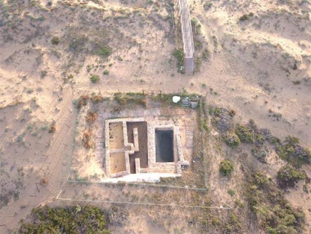 An aerial view of the Roman villa that was overtaken by the Muslim powers of Spain. The villa was then renovated to include an Islamic tower and a mosque. (Universidad de Alicante)